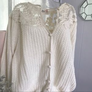 Vintage Lim's Ivory Faux Pearl Beaded Sweater